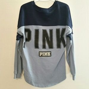Tops - Pink by Victoria Secret Blue Spellout LS Shirt